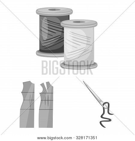 Vector Illustration Of Dressmaking And Textile Sign. Set Of Dressmaking And Handcraft Vector Icon Fo