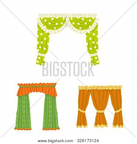 Vector Illustration Of Lambrequin And Drapery Logo. Collection Of Lambrequin And Decoration Stock Ve