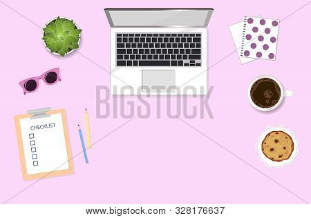 Woman Working Desktop With Computer, Coffee, Sunglasses And Plant. Girly Flat Lay Illustration