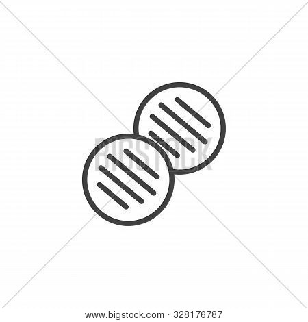 Barbecue Cutlets Line Icon. Bbq Nuggets Linear Style Sign For Mobile Concept And Web Design. Grilled