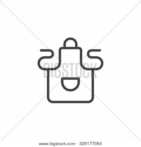 Apron With Pocket Line Icon. Linear Style Sign For Mobile Concept And Web Design. Kitchen Apron Outl