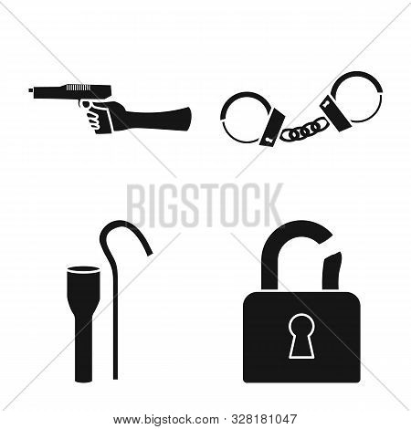 Isolated Object Of Robber And Villain Icon. Collection Of Robber And Police Stock Vector Illustratio