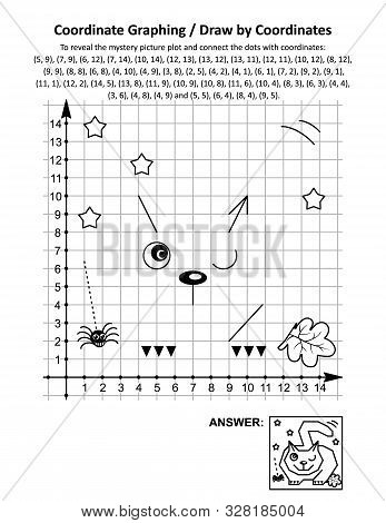 Coordinate Graphing, Or Draw By Coordinates, Math Worksheet With Halloween Fat Cat, Lying In Wait Fo