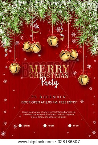 Christmas Party Poster Template With With A Border Of Spruce Branches, Hanging Jingle Bells And Holi