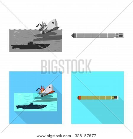 Vector Design Of War And Ship Logo. Collection Of War And Fleet Stock Symbol For Web.