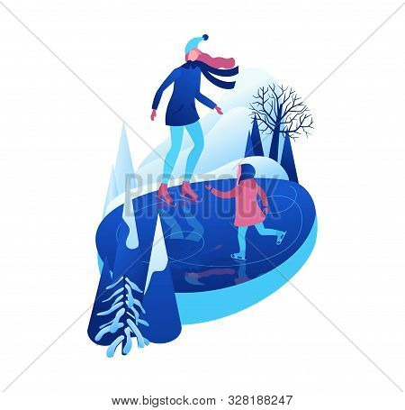 Ice Skating Isometric People, 3d Vector Winter Sport Family, Christmas Tree Decorated, Mother And Ki