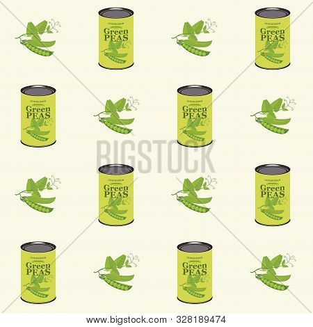 Vector Seamless Pattern With Green Peas And Green Pea Cans In Retro Style On Light Background. Repea