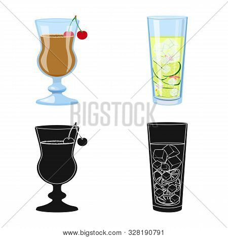 Vector Illustration Of Liquor And Restaurant Logo. Collection Of Liquor And Ingredient Stock Symbol