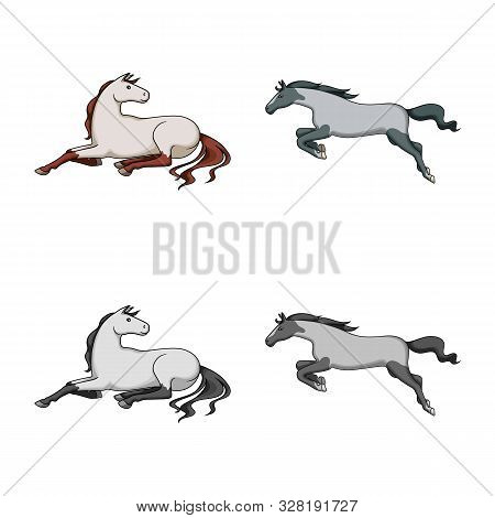 Isolated Object Of Breed And Equestrian Logo. Set Of Breed And Mare Vector Icon For Stock.