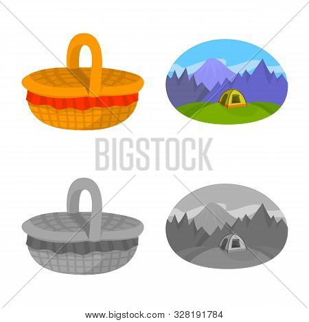 Vector Illustration Of Cookout And Wildlife Icon. Collection Of Cookout And Rest Stock Vector Illust