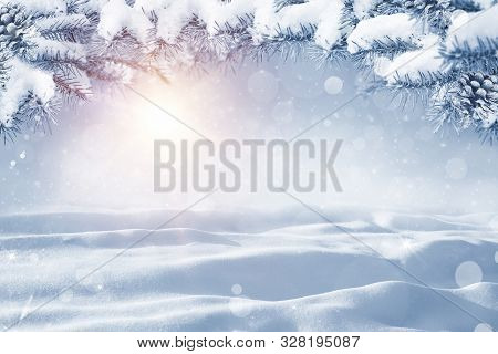 Winter Christmas Scenic Background With Copy Space. Morning Snow Landscape With Christmas Branches C