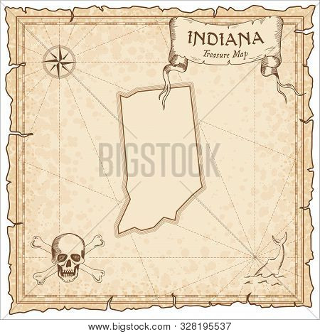 Indiana Pirate Map. Ancient Style Map Template. Old Us State Borders. Vector Illustration.