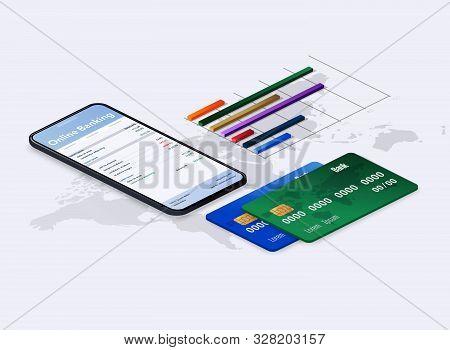 Web Concept For Online Banking. Vector Illustration.