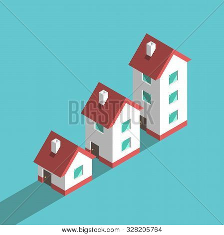 Three Isometric Houses, Growth From Small One-storeyed To Big Three-storeyed. Wealth, Real Estate, I