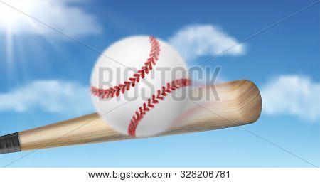 Baseball Bat Hitting, Smashing Ball On Sunny, Blue Sky Background. Team Sport Tournament Or Champion