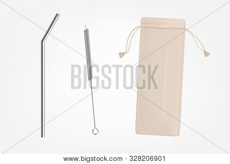 Metal, Bendy Drinking Straw, Steel Cleaning Brush And Leather, Fabric Case, Breathable Pouch For Reu