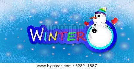 Snowman On Blue Winter Snowflakes Background. Paper Art Style. Christms Design, Decor, Background. C