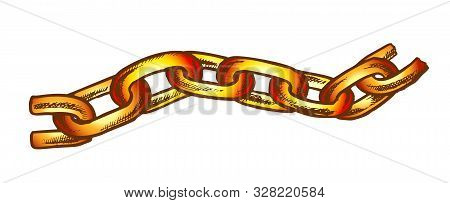 Iron Chain Protective Accessory Color Vector. Separate Classic Chain For Bind And Safe. Linked Rings