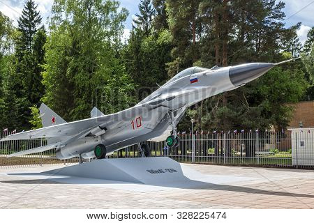 Russia - June 2017: A Monument In The Form Of A Mig-29 Fighter Aircraft