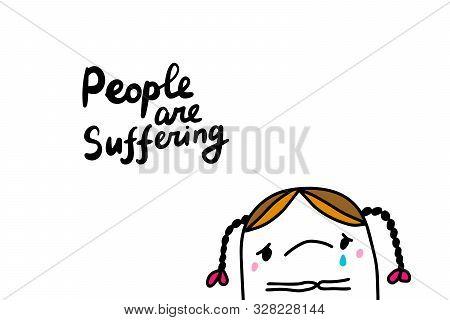 People Are Suffering Hand Drawn Vector Illustration In Cartoon Comic Style Greta Thunberg Sad
