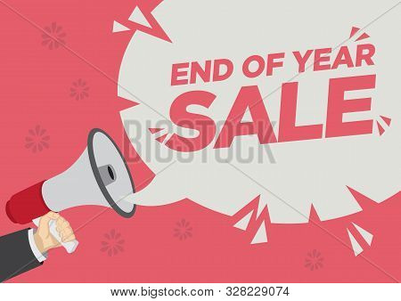 Retail Sale Promotion Shoutout With A Megaphone Speech Bubble Against A Red Background. Concept Of S
