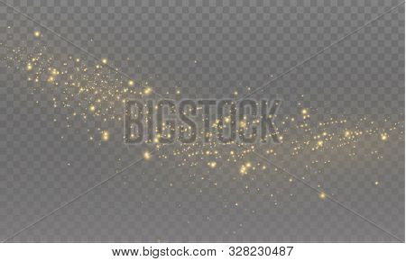 The Yellow Dust Sparks And Golden Stars Shine With Special Light. Vector Sparkles On A Transparent B
