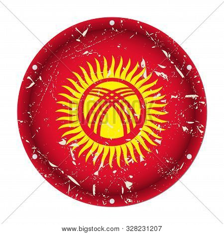 Kyrgyzstan - Round Metallic Scratched Flag With Six Screw Holes In Front Of A White Background