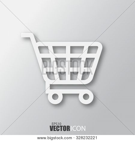 Shopping Cart Icon In White Style With Shadow Isolated On Grey Background.