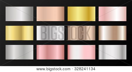 Metallic gradients vector set: golden, silver, platinum, bronze, rose gold. Foil chrome, alloy, aluminum, titanium, copper, silver, yellow and pink gold, platinum, steel, bronze background swatches. poster