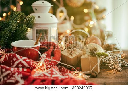 Holiday Christmas Wallpaper With Lantern. Christmas Card Background With Festive Decoration. Wood Pl
