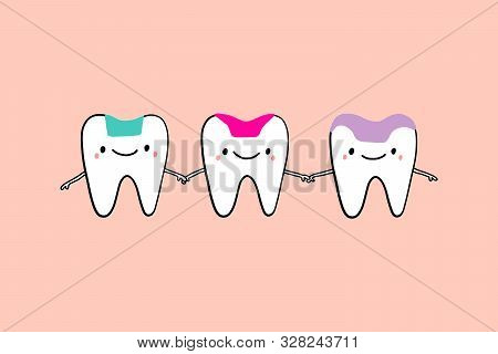 Inlay Onlay Overlay Together Friends Holding Hands Drawing Illustration In Cartoon Style Tooth Treat