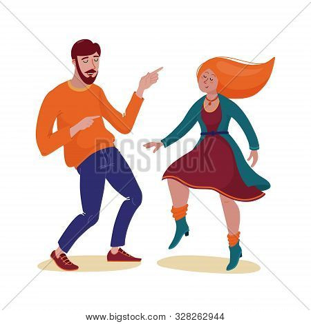 Young Funky Man In Sweater And Red-hair Woman In Cardigan And Dress Dancing Happily Together With Cl