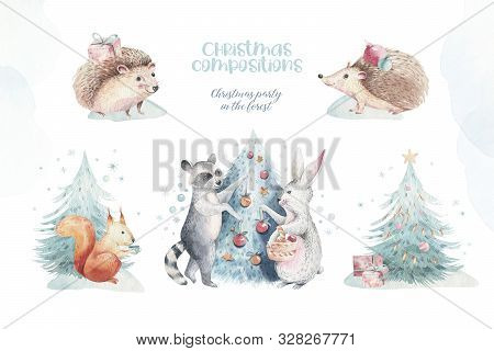 Set Of Christmas Woodland Forest Cartoon Hedgehog, Cute Squirrel, Mouse, Bunny Hare Animal Character