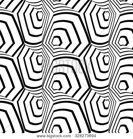 Abstract Seamless Pattern With Warped Hexagonal Optical Illusion, 3d Shapes. White And Black Vector