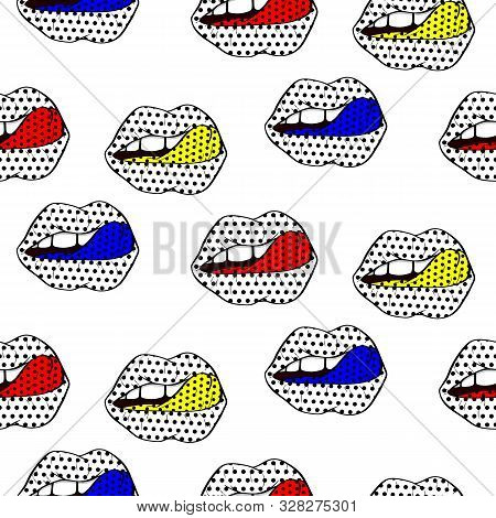 Vector Illustration. Seamless Pattern Sexy Red Lips And Tongue In A Pattern Of  Polka-dot  In The St