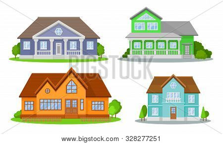 Mansions Set. Contemporary Colourful Buildings Vector Illustrated Concepts