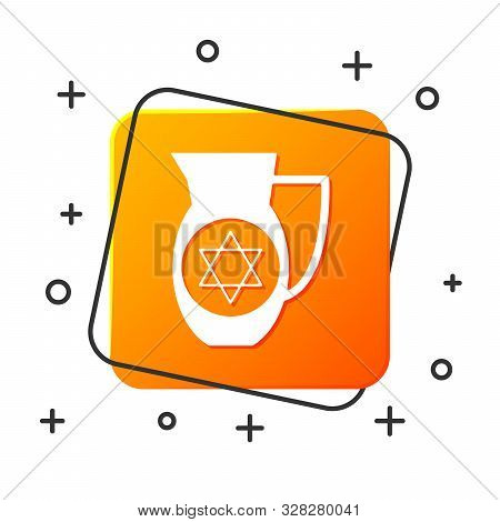 White Decanter With Star Of David Icon Isolated On White Background. Pottery Jug. Organic Product In