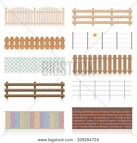 Different Fences Like Wooden, Garden, Electric, Picket, Pasture, Wire Fence, Wall, Barbwire And Othe