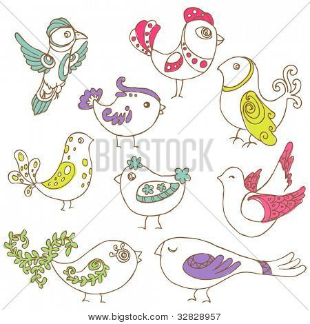 Set of different cute birds - for design and scrapbook - in vector