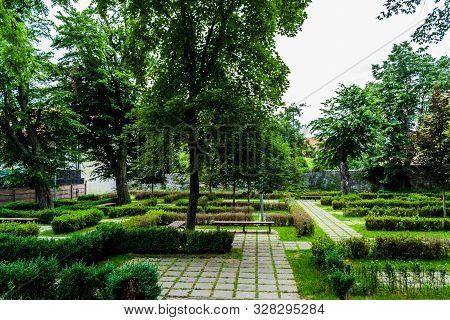 The Beautiful Municipal Park Of The City Of Bistrita, Romania.
