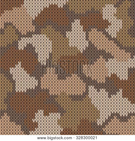 Colorful military decorative safari camouflage. Knitting khaki pattern. Vector illustration. poster