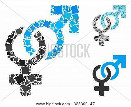 Heterosexual Symbol Mosaic Of Unequal Parts In Various Sizes And Shades, Based On Heterosexual Symbo