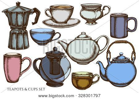 Vector Set Of Hand Drawn Colored Coffee Cups, Teapots, Coffee Pot, Cups Stock Illustration