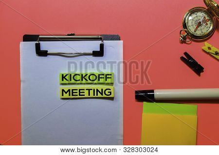 Kickoff Meeting Write On Sticky Notes Isolated On Pink Background.