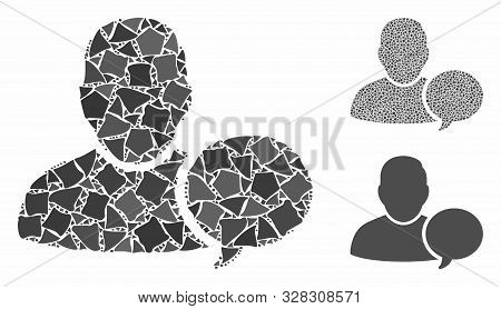 User Hint Balloon Mosaic Of Bumpy Parts In Various Sizes And Shades, Based On User Hint Balloon Icon