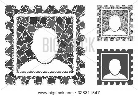 Postal Mark Composition Of Tremulant Parts In Various Sizes And Shades, Based On Postal Mark Icon. V