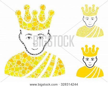 Emperor Mosaic Of Humpy Parts In Different Sizes And Color Tones, Based On Emperor Icon. Vector Hump