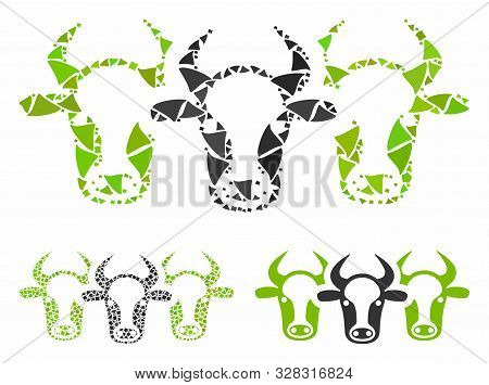 Cattle Mosaic Of Bumpy Items In Different Sizes And Color Tones, Based On Cattle Icon. Vector Unequa