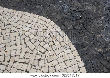 Cobble Stones On The Streets Of Ponta Delgada, Sao Miguel Island Of Azores, Portugal