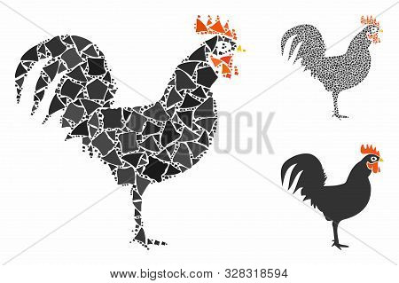 Cock Mosaic Of Humpy Parts In Variable Sizes And Shades, Based On Cock Icon. Vector Trembly Parts Ar